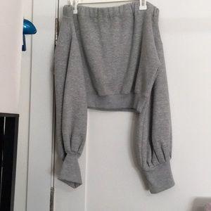 Misguided Crop top off the shoulder sweatshirt
